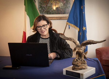 Italy's MoD Elisabetta Trenta opening the 24th IHSC via Skype